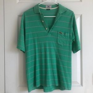Vintage Lacoste Men's Green Striped Polo